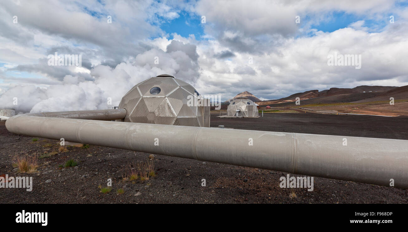 Pipes and boreholes at Bjarnarflag Geothermal Plant, Iceland - Stock Image
