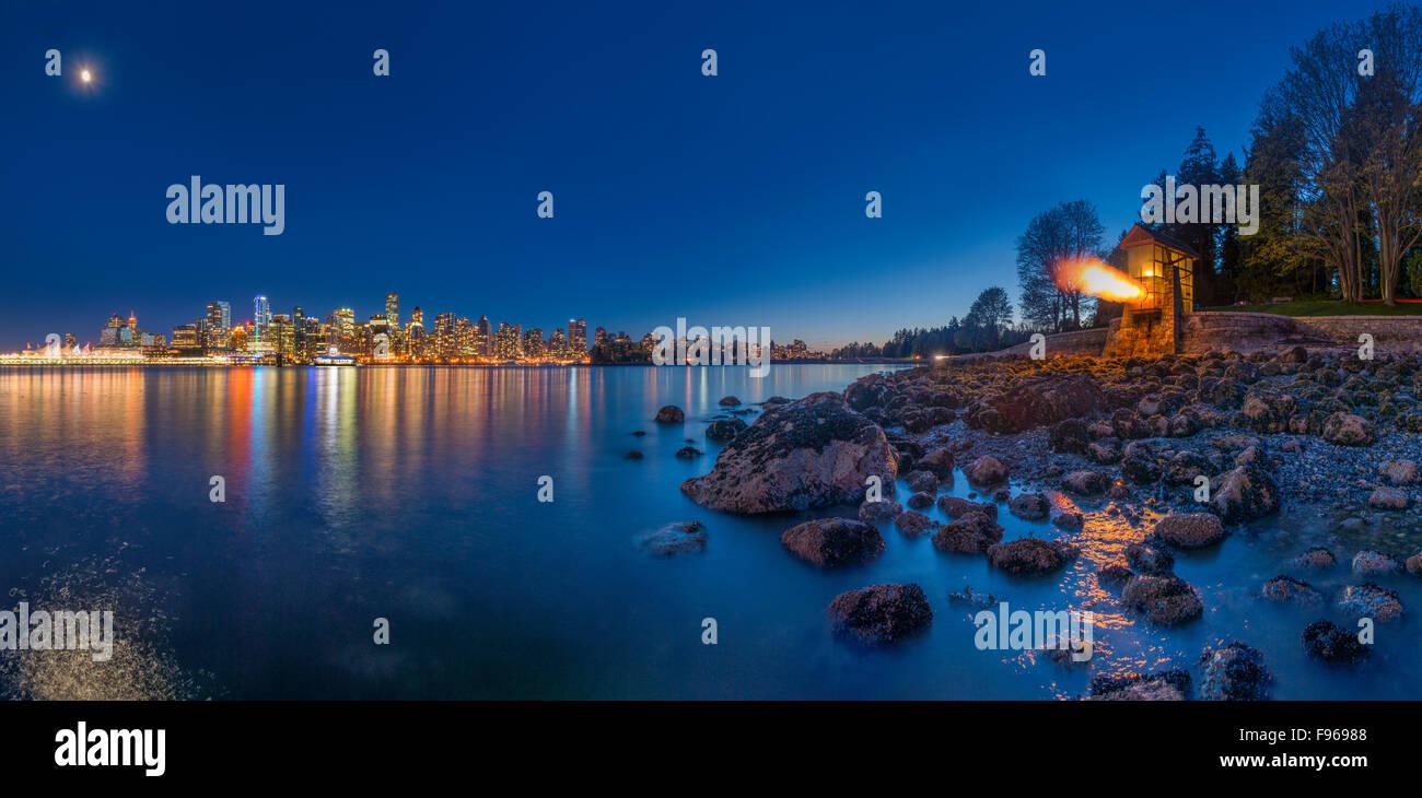 9 O'Clock Gun, Stanley Park, Vancouver, British Columbia, Canada - Stock Image