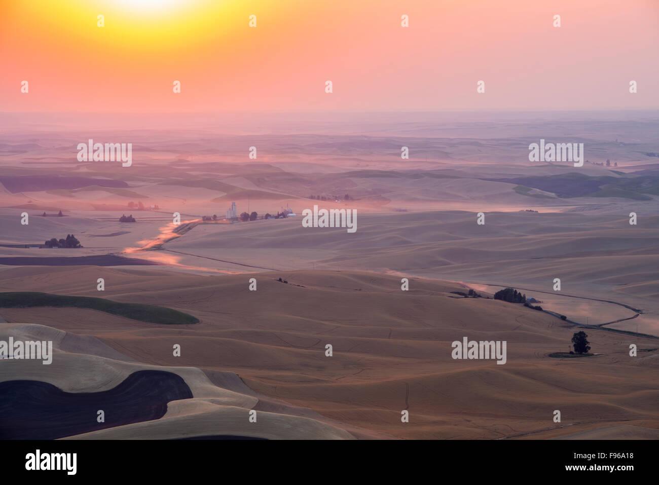 Sunset above the Palouse, Washington State, USA. Stock Photo