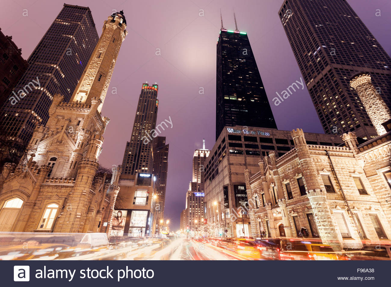 water tower in chicago christmas time chicago illinois usa stock image - Chicago Christmas