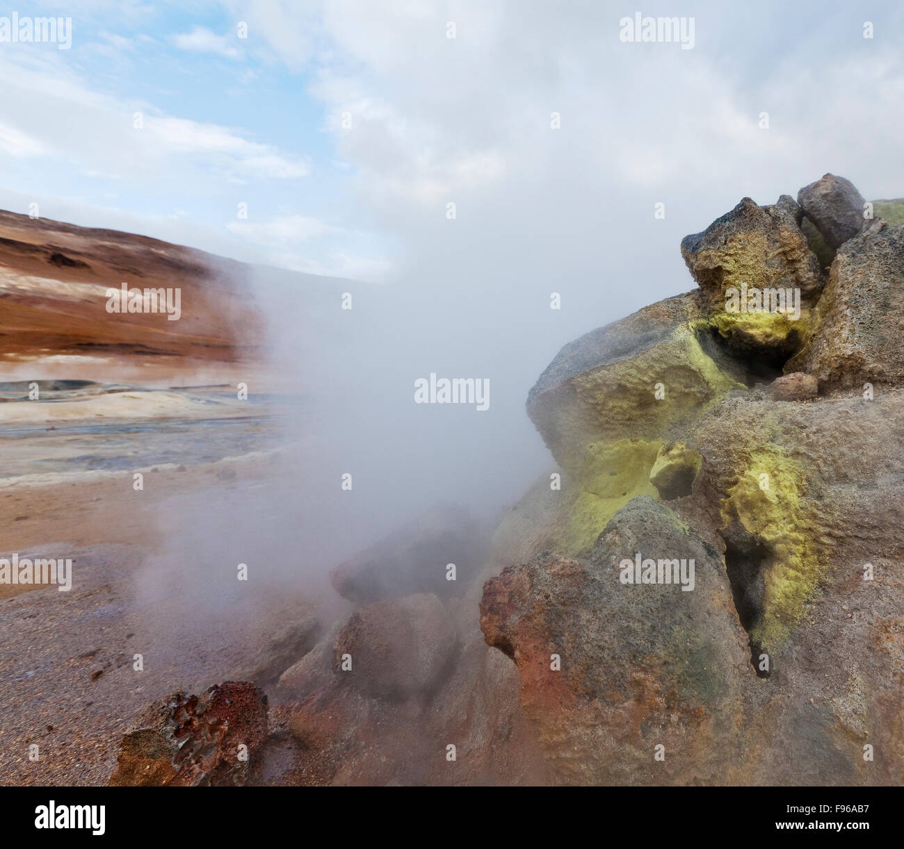 Geothermal hot springs, Hverarond, Namaskard, Iceland. The area is characterized by boiling mud-bogs and solfataras. Stock Photo