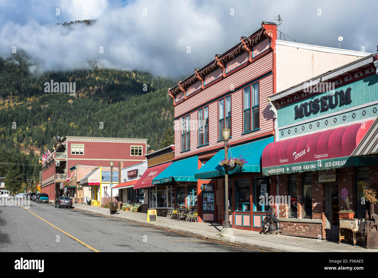 Heritage buildings in the old town of Kaslo in British Columbia, Canada. - Stock Image