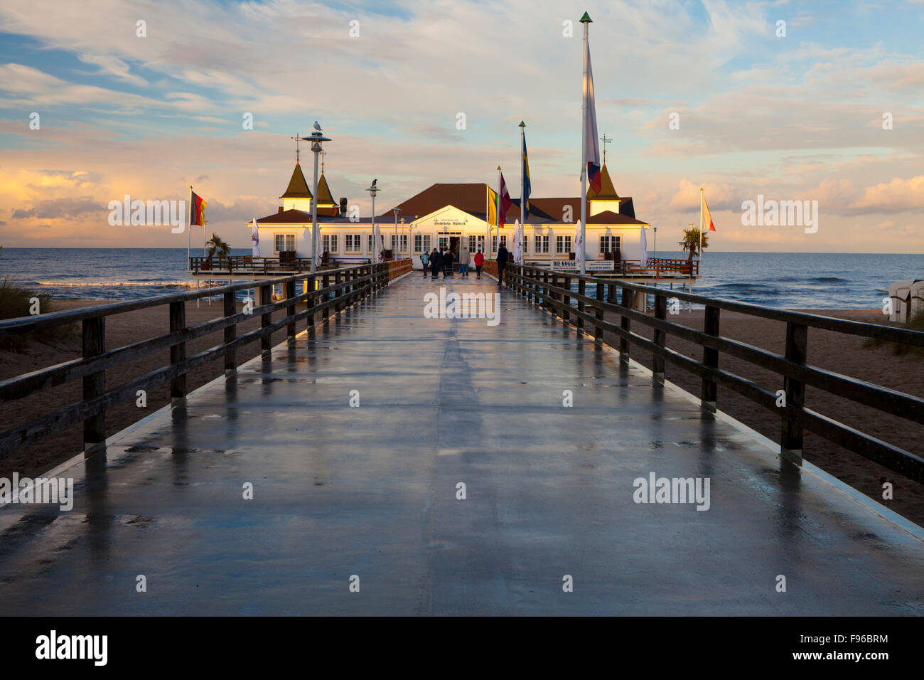 The Historic Pier in Ahlbeck on the Island of Usedom, Baltic Coast, MecklenburgVorpommern, Germany NO MODEL RELEASE - Stock Image