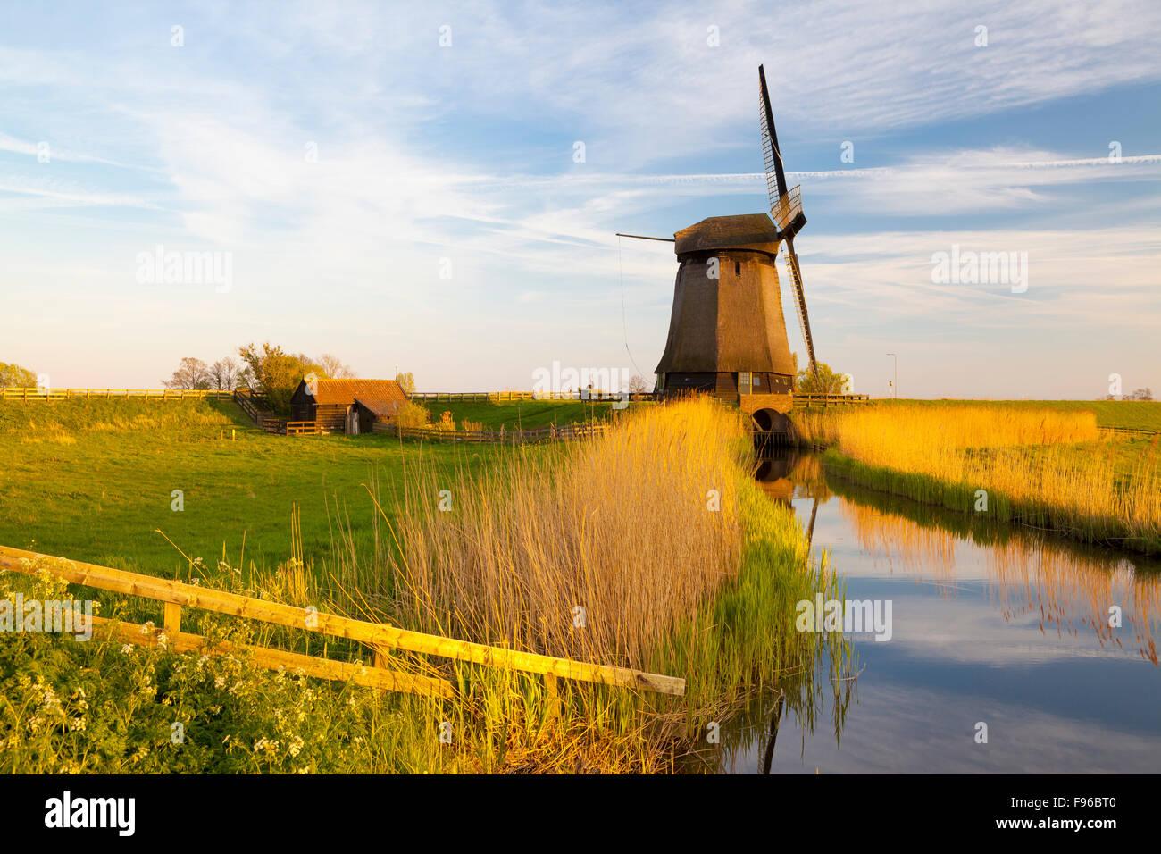 Windmill, Schermerhorn, North Holland, Netherlands - Stock Image