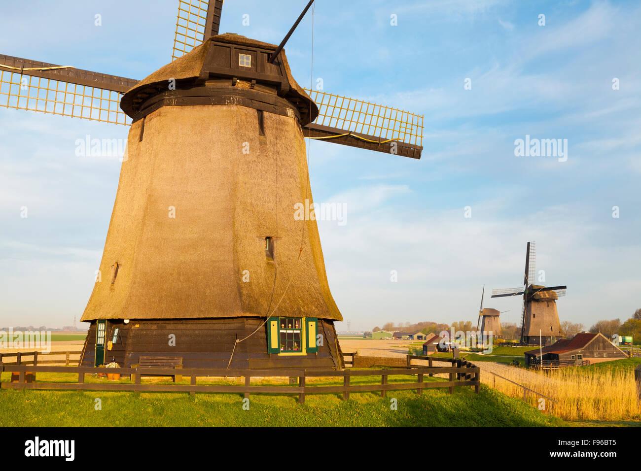 Windmills, Schermerhorn, North Holland, Netherlands - Stock Image