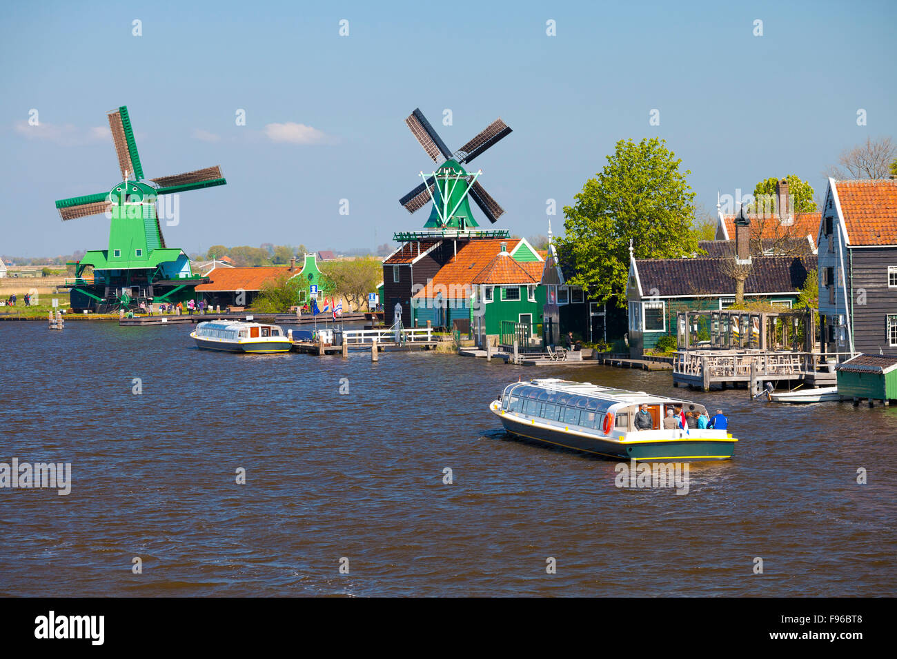 Zaanse Schans is an openair museum north of Amsterdam featuring several restored, working windmills. - Stock Image