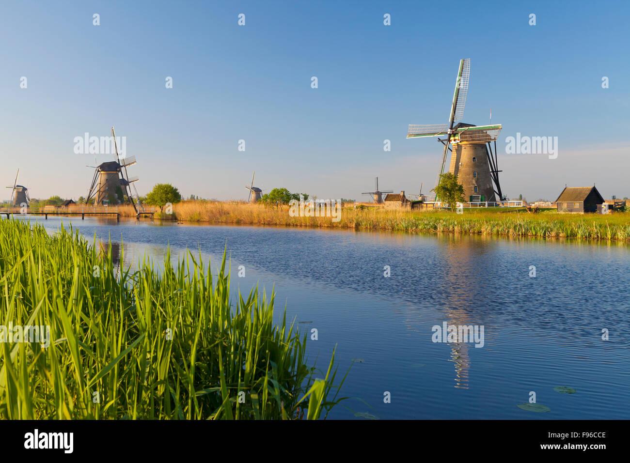 Historic Windmills at Kinderdijk, South Holland, Netherlands Stock Photo