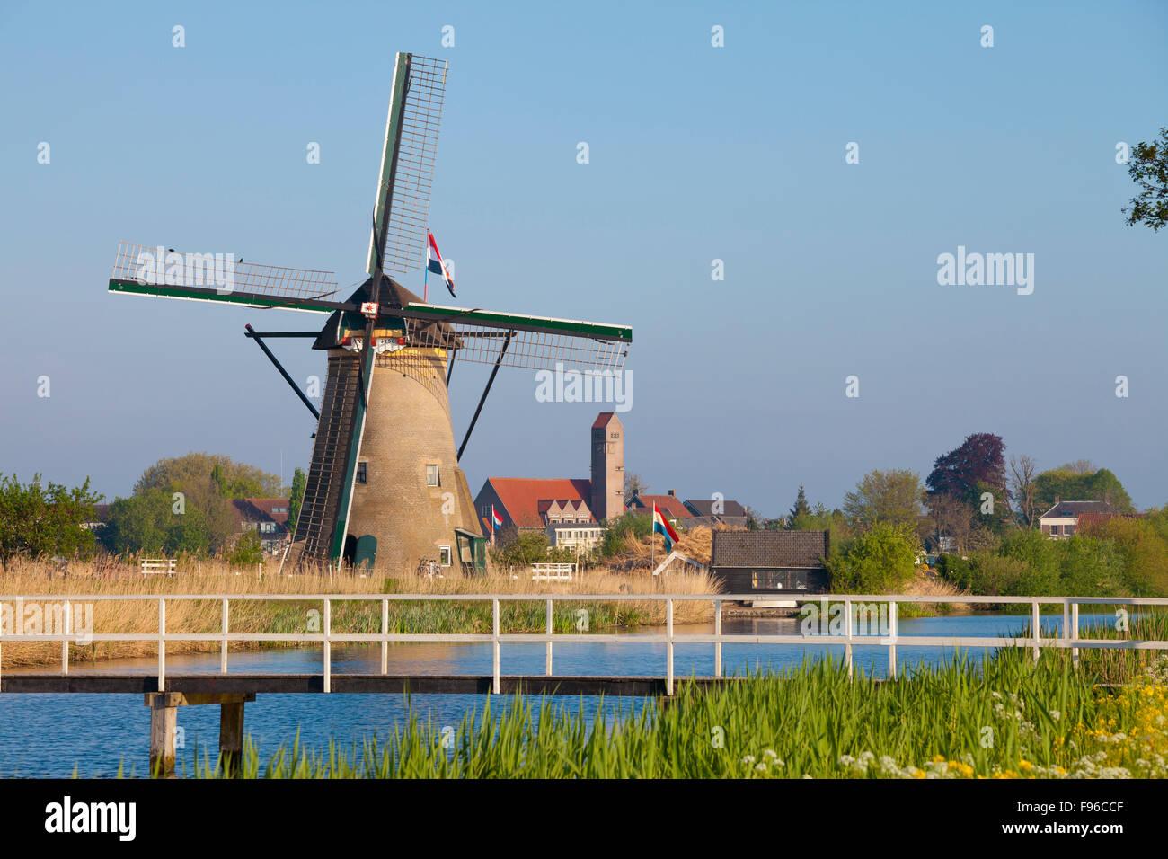 Historic Windmill at Kinderdijk, South Holland, Netherlands Stock Photo