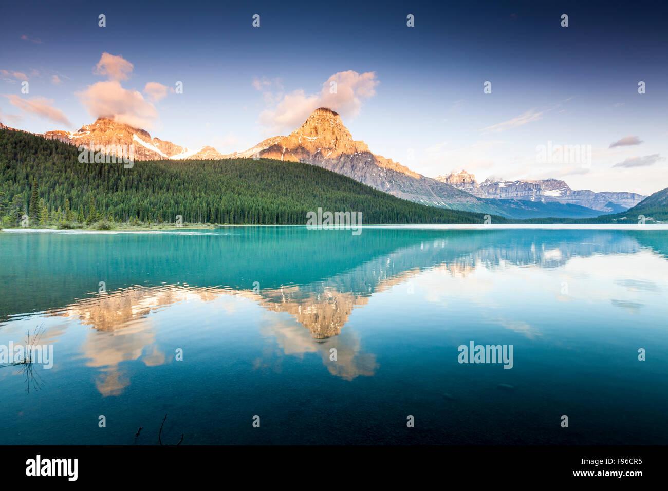 Mount Chephren reflected in lower Waterfowl Lake, Banff National Park, Alberta, Canada - Stock Image
