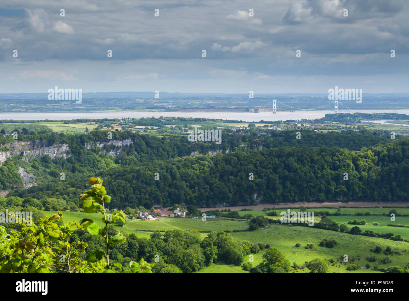 From the 'Eagles Nest' viewpoint at Wynd Cliff of the River Wye, Severn Estuary and M48 Suspension Bridge - Stock Image