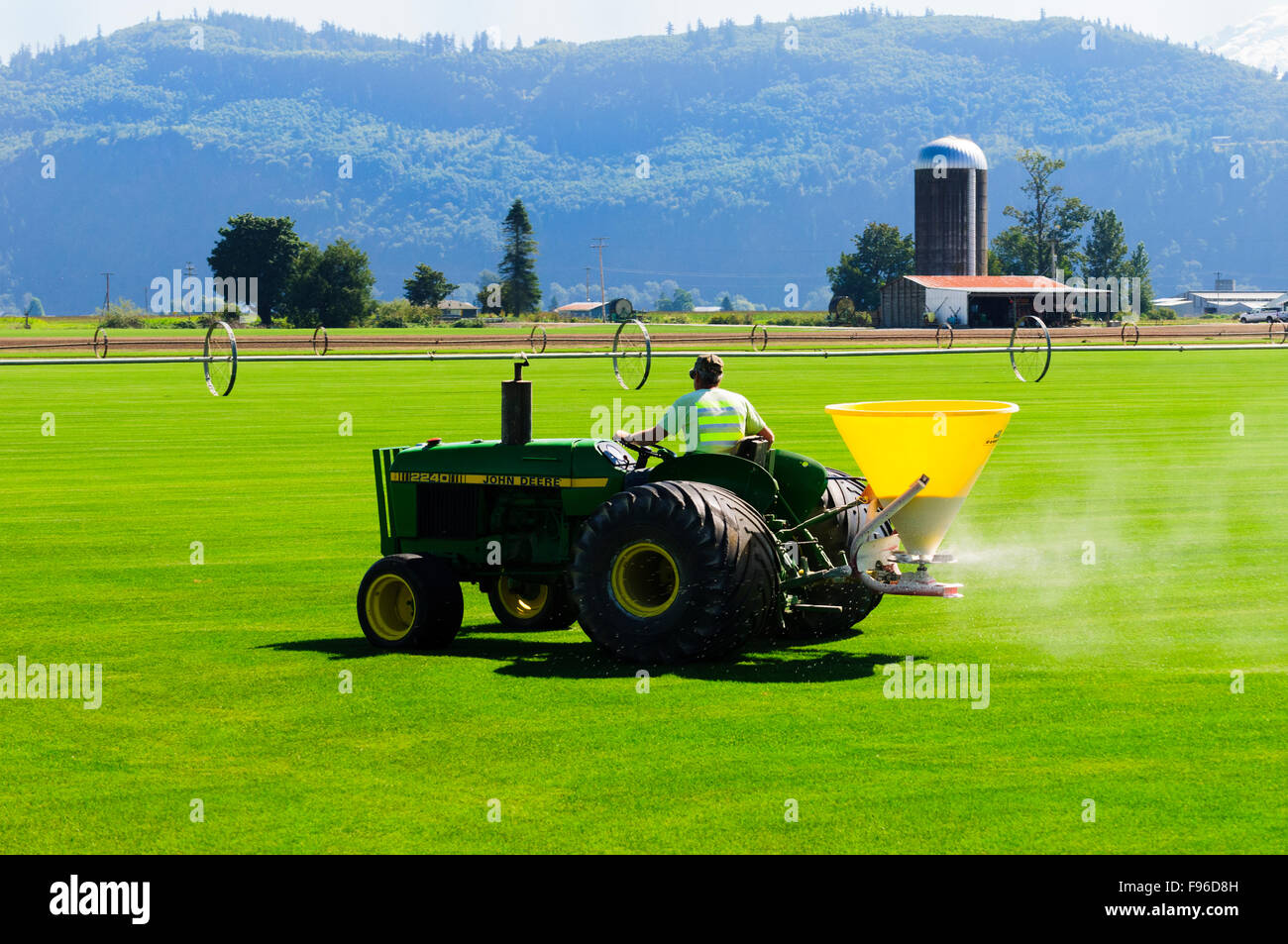A turf farmer spreads fertilizer over turf in Sumas Washington State, USA. - Stock Image