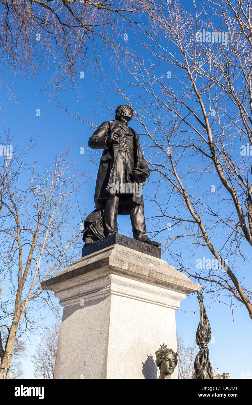 Statue of Sir John A. Macdonald, the first Prime Minister of Canada, on Parliament Hill in Ottawa, Ontario - Stock Image