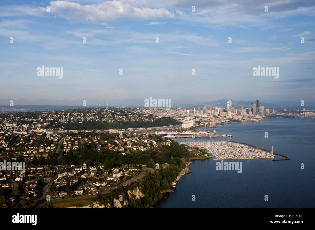 Aerial views of two stadiums in downtown Seattle - Stock Image