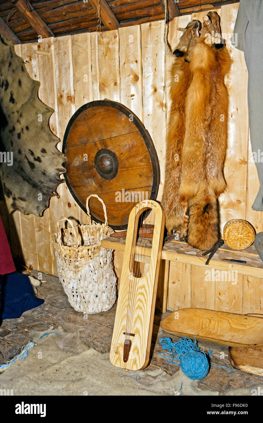 Interior fixtures of the reconstructed Long house at L'Anse aux Meadows National Historic Site of Canada and - Stock Image