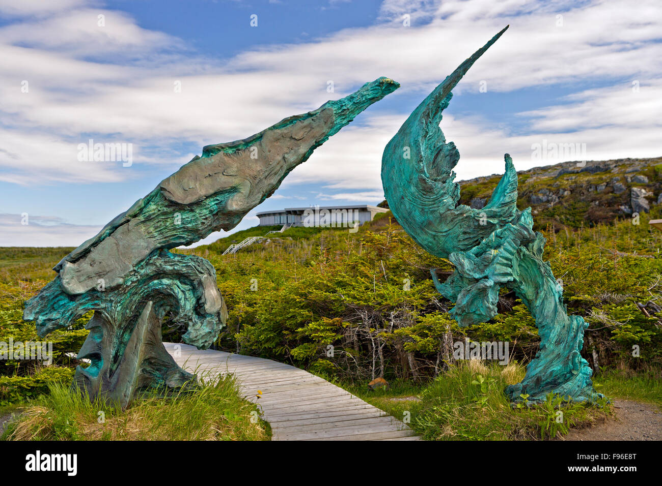 Bronze sculpture titled 'Meeting of two worlds' unveiled on July 5, 2002 at L'Anse aux Meadows,  Newfoundland - Stock Image