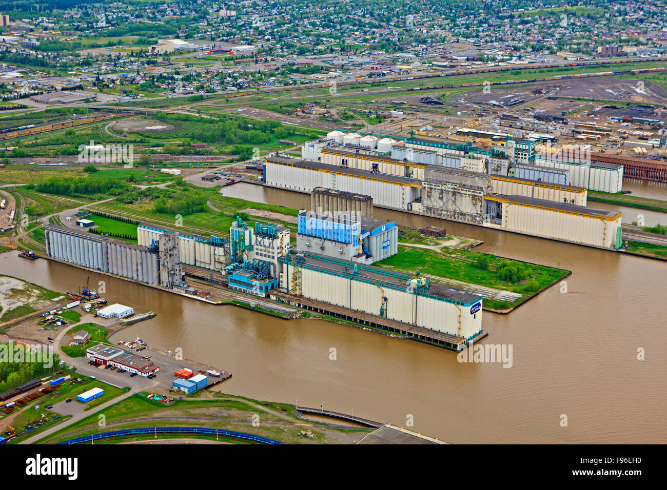 Grain elevators at the ship terminals along the Lake Superior waterfront in the city of Thunder Bay, Ontario, Canada. - Stock Image