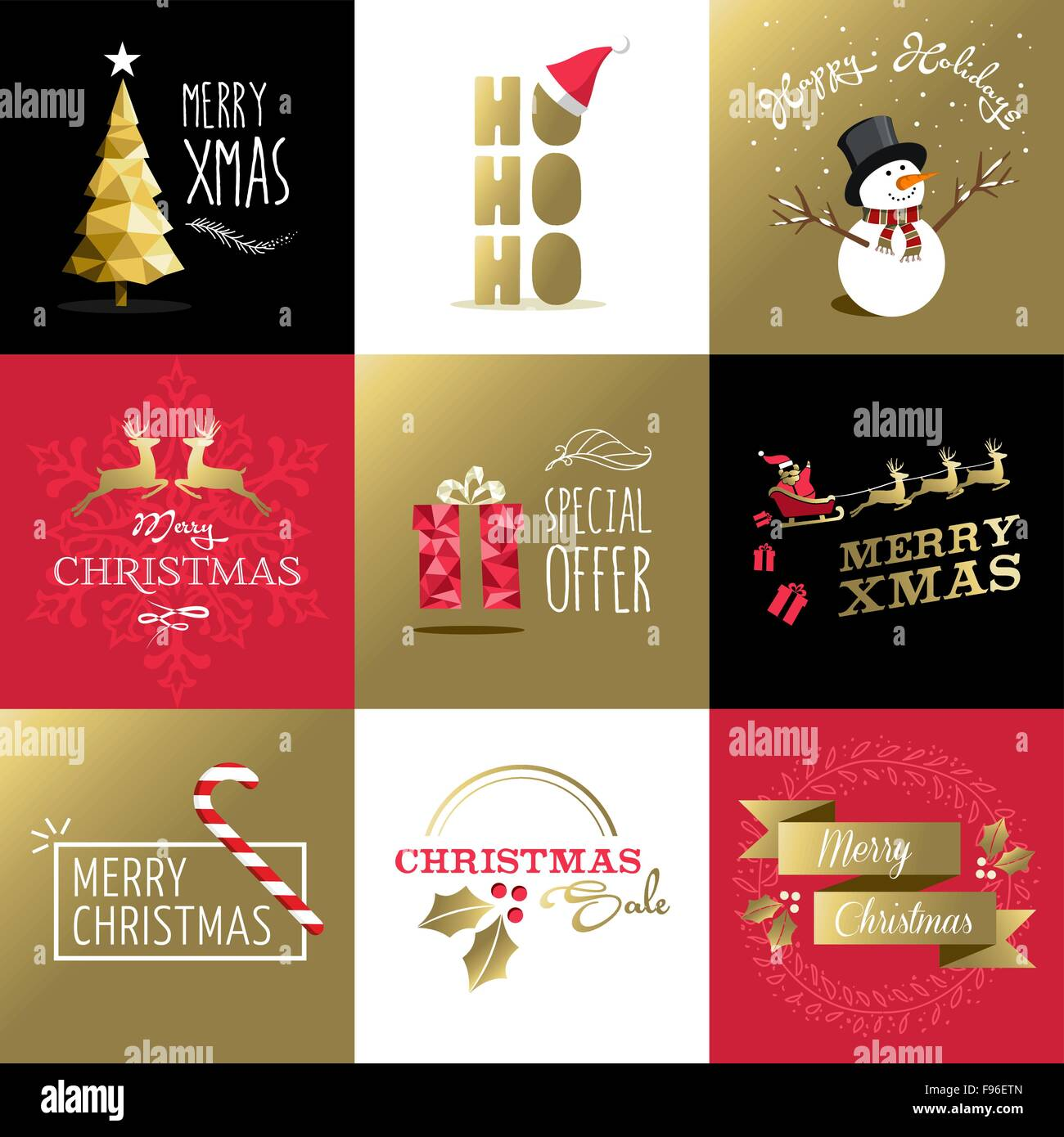 Merry christmas retro style design set in gold colors, includes ...