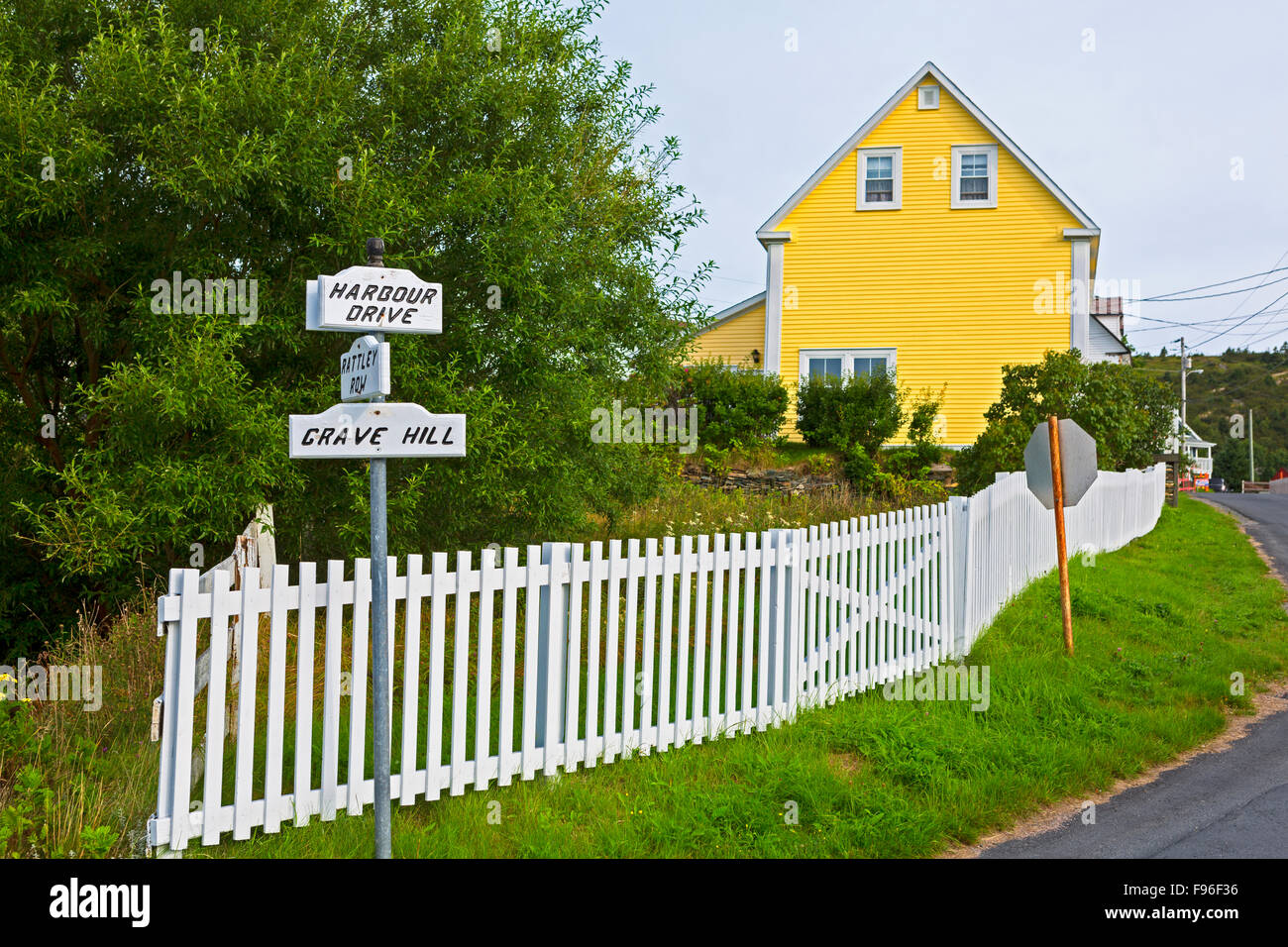 Picket fence, Town of Brigus Newfoundland, Canada - Stock Image