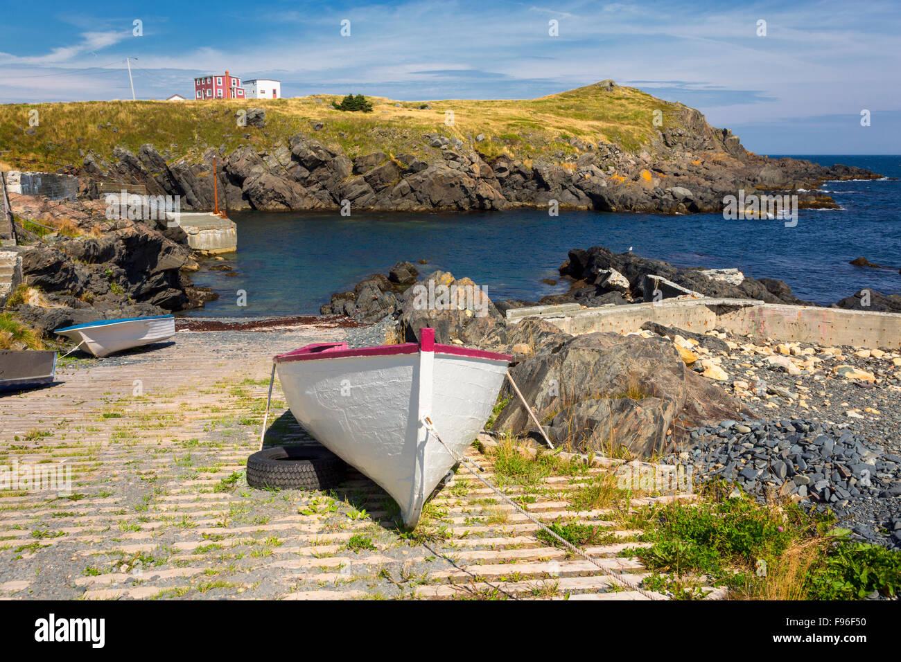 Wooden boat, Broad Cove, Newfoundland, Canada Stock Photo
