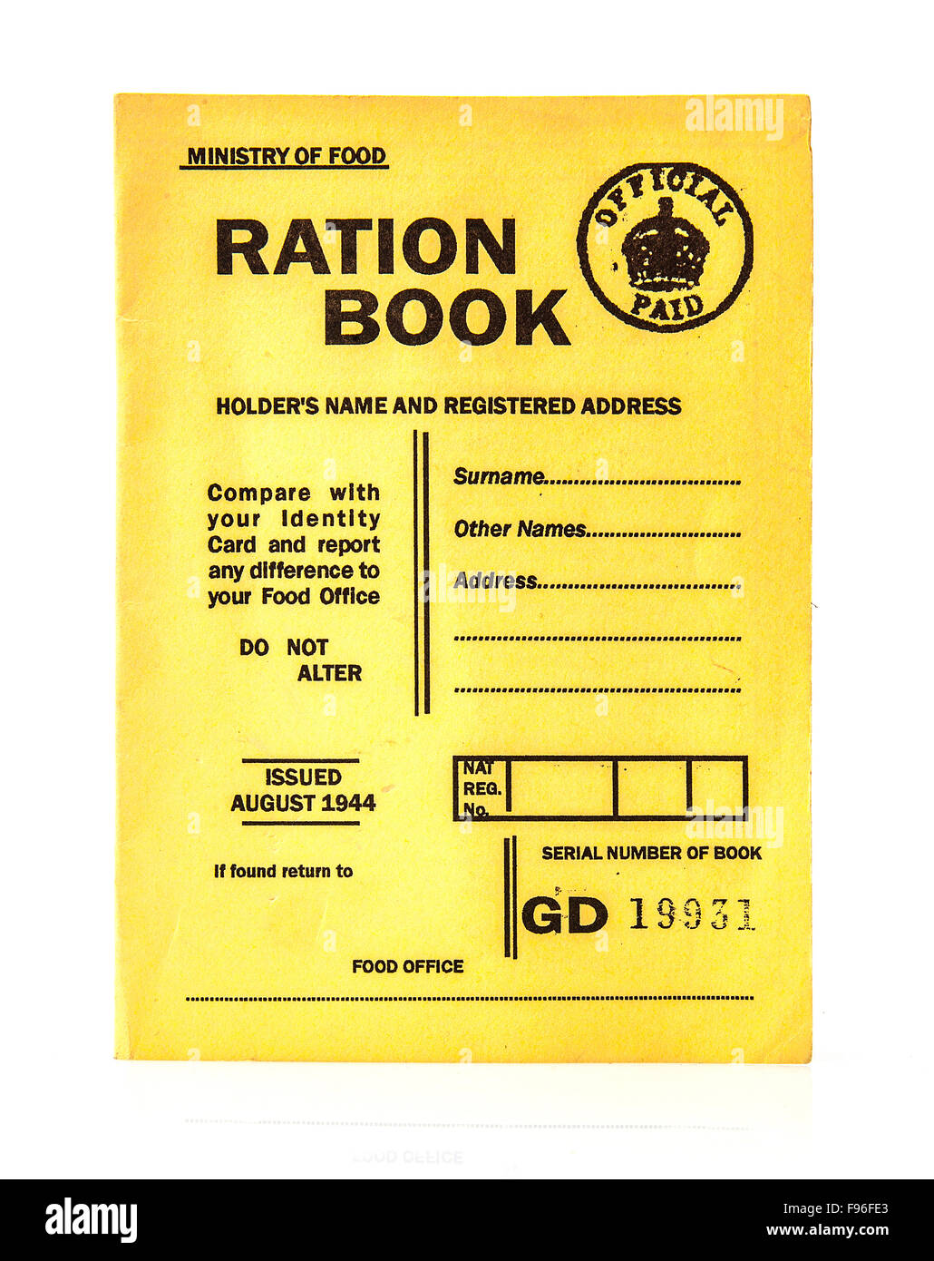 1944 war time ration book on a white background - Stock Image