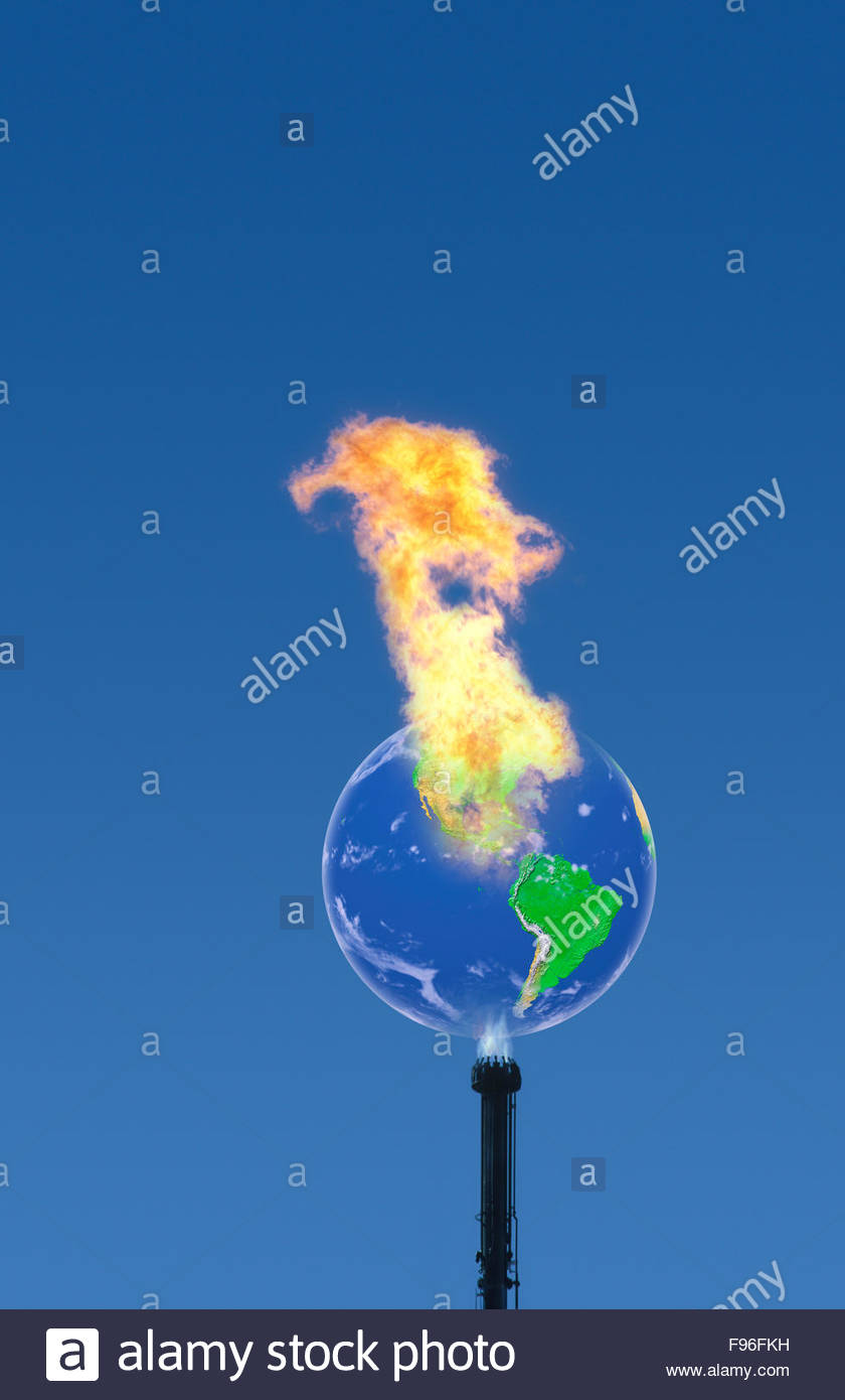 Concept illustration of greenhouse gas emissions causing global warming, climate change on earth. - Stock Image