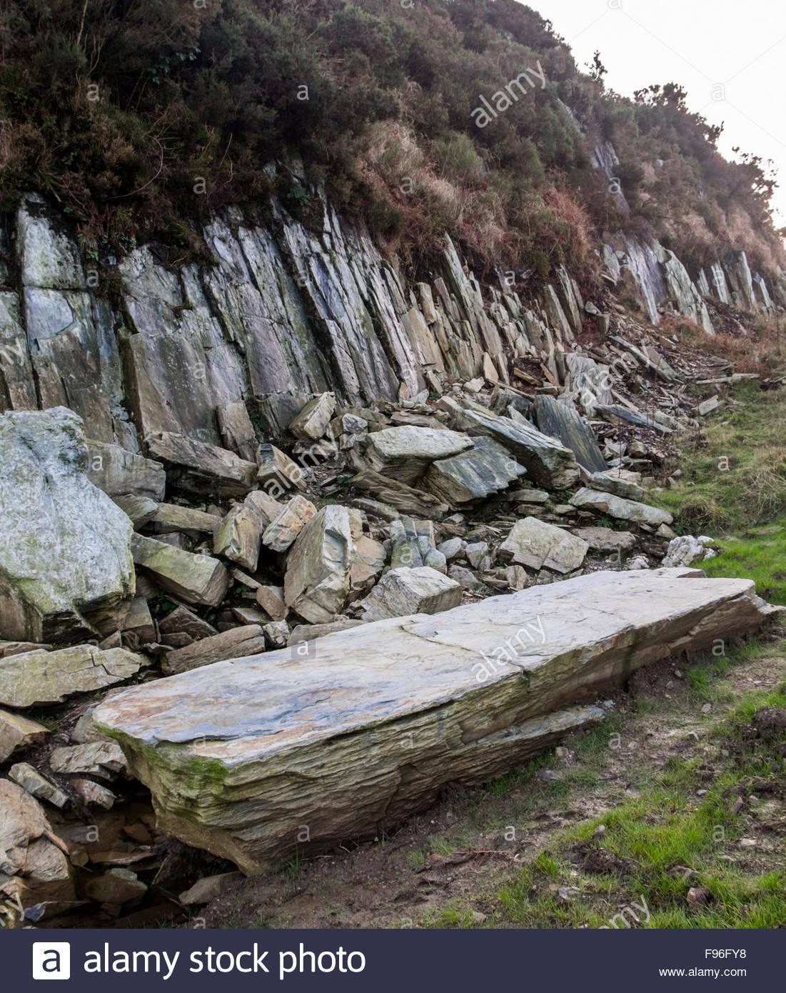 A rocky outcrop at Craig Rhos-y-felin, near Crosswell, north Pembrokeshire. - Stock Image