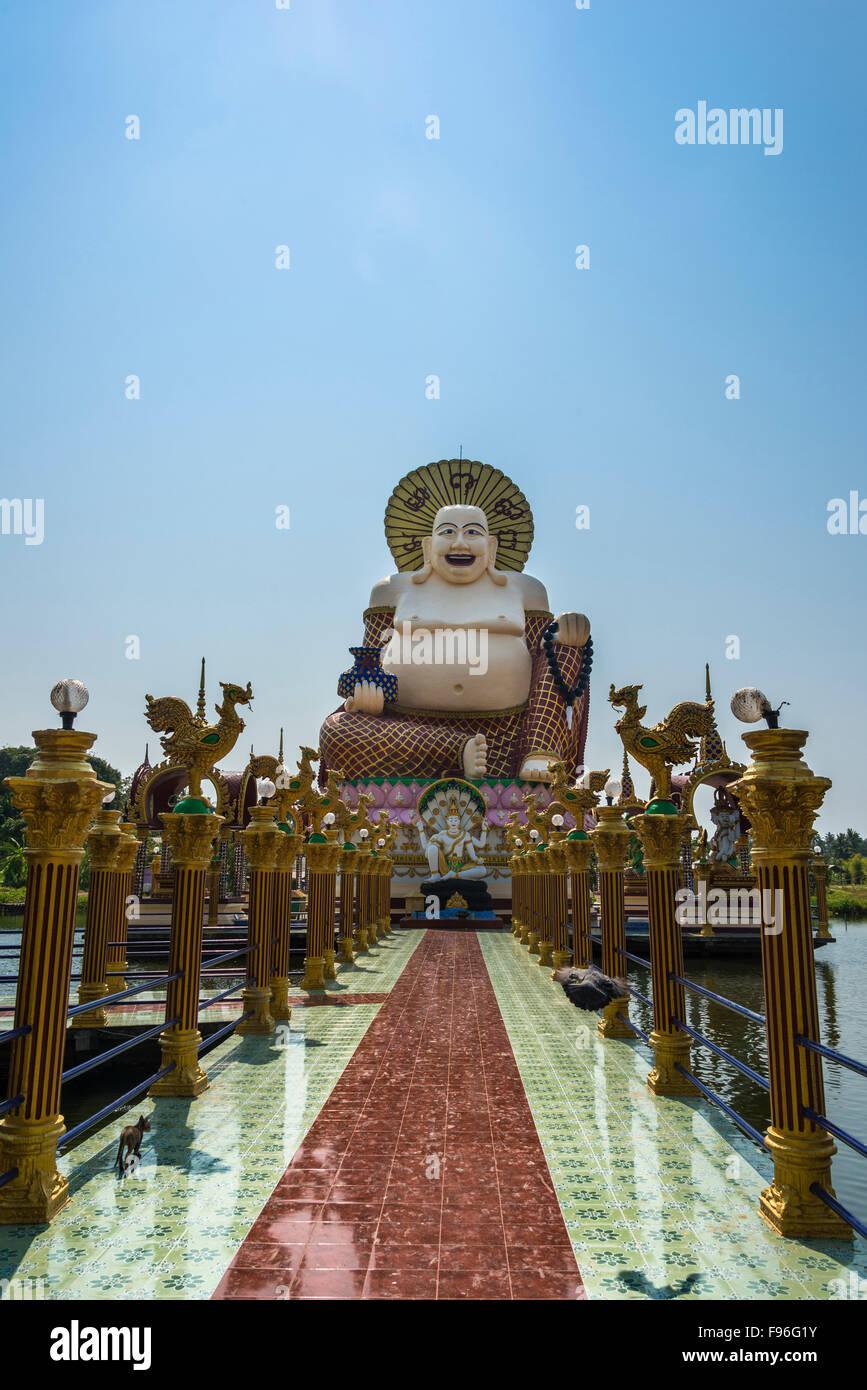 Laughing Buddha, Wat Laem Suwannaram Temple, Ban Bo Phut, Ko Samui, Thailand Stock Photo