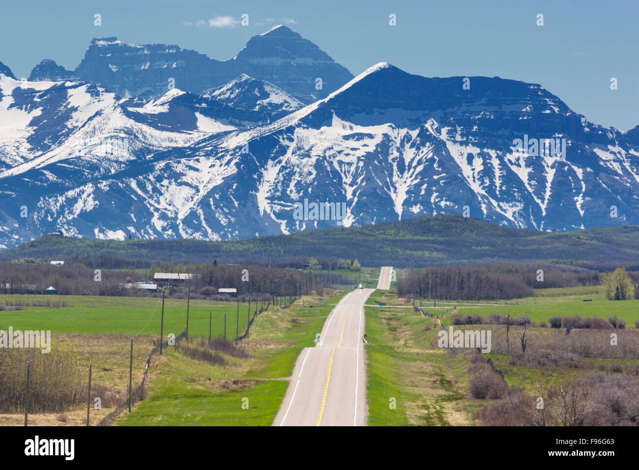 Highway, Twin Butte, Alberta, Canada - Stock Image