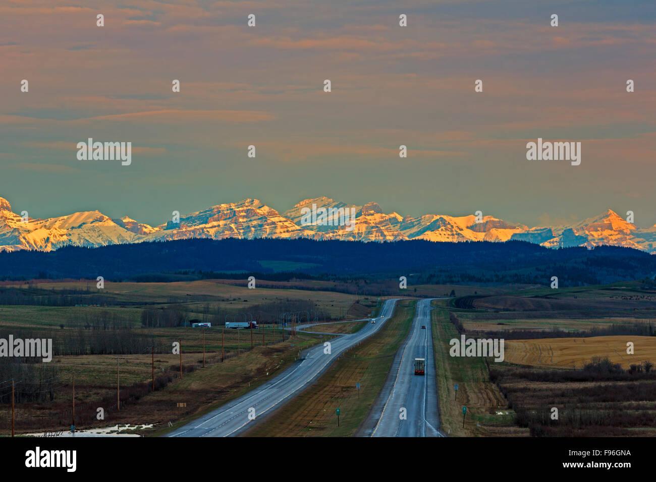 TransCanada highway, Rockey View County, Division No. 6,  Cowboy Trail, Alberta, Canada - Stock Image