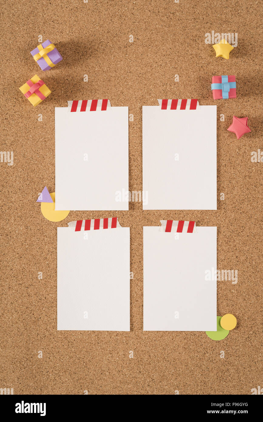 empty blank notes template on cork notice board background with
