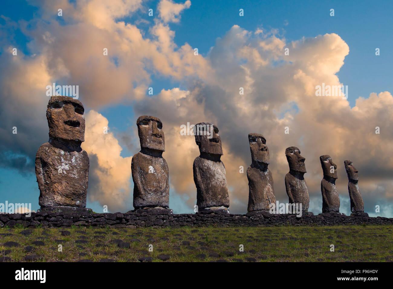 Ceremonial moai, Akivi, Easter Island - Stock Image