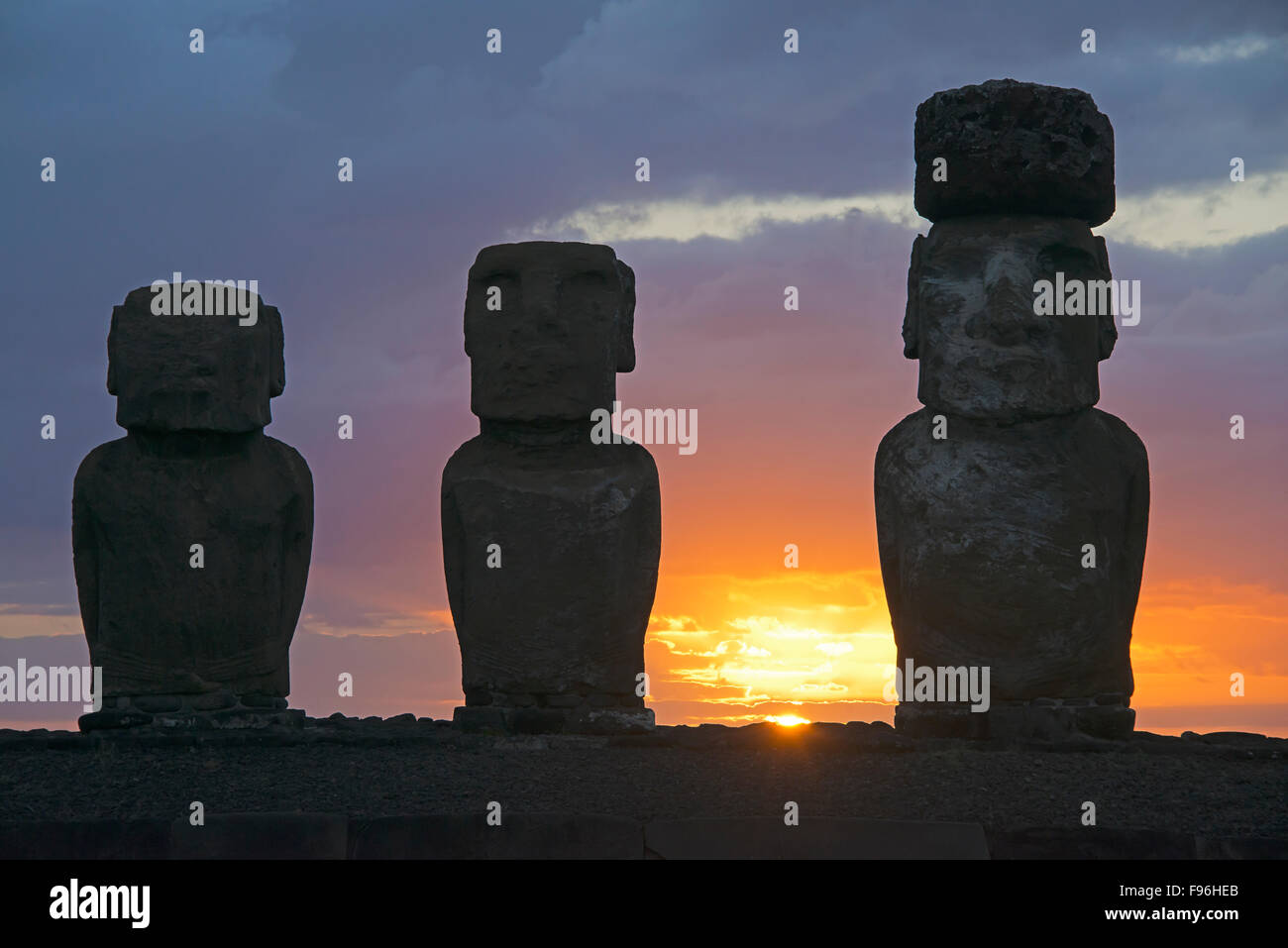 Ceremonial moai, Tongariki, Easter Island - Stock Image