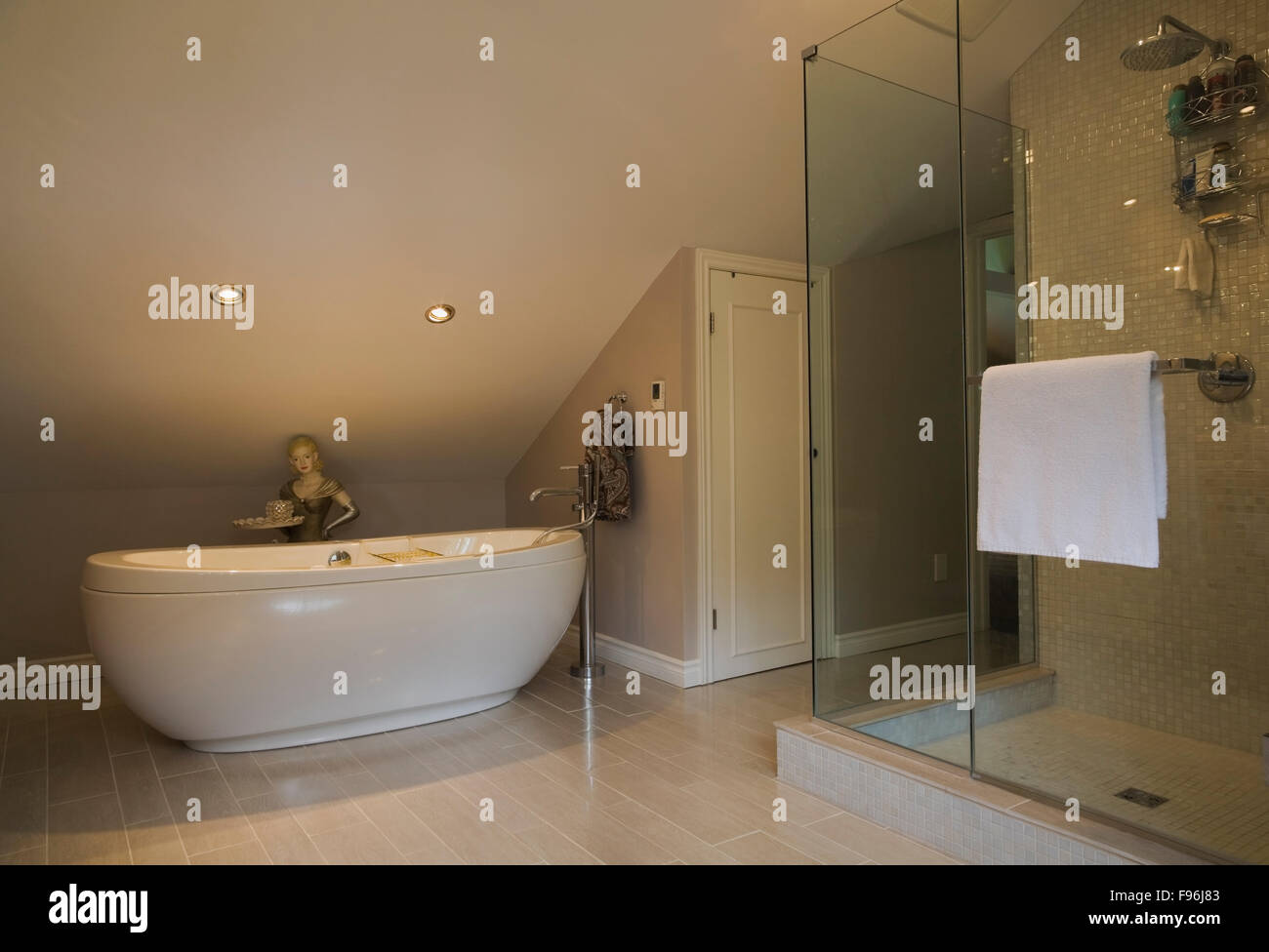 Master bathroom with oval shaped bathtub and glass shower stall ...
