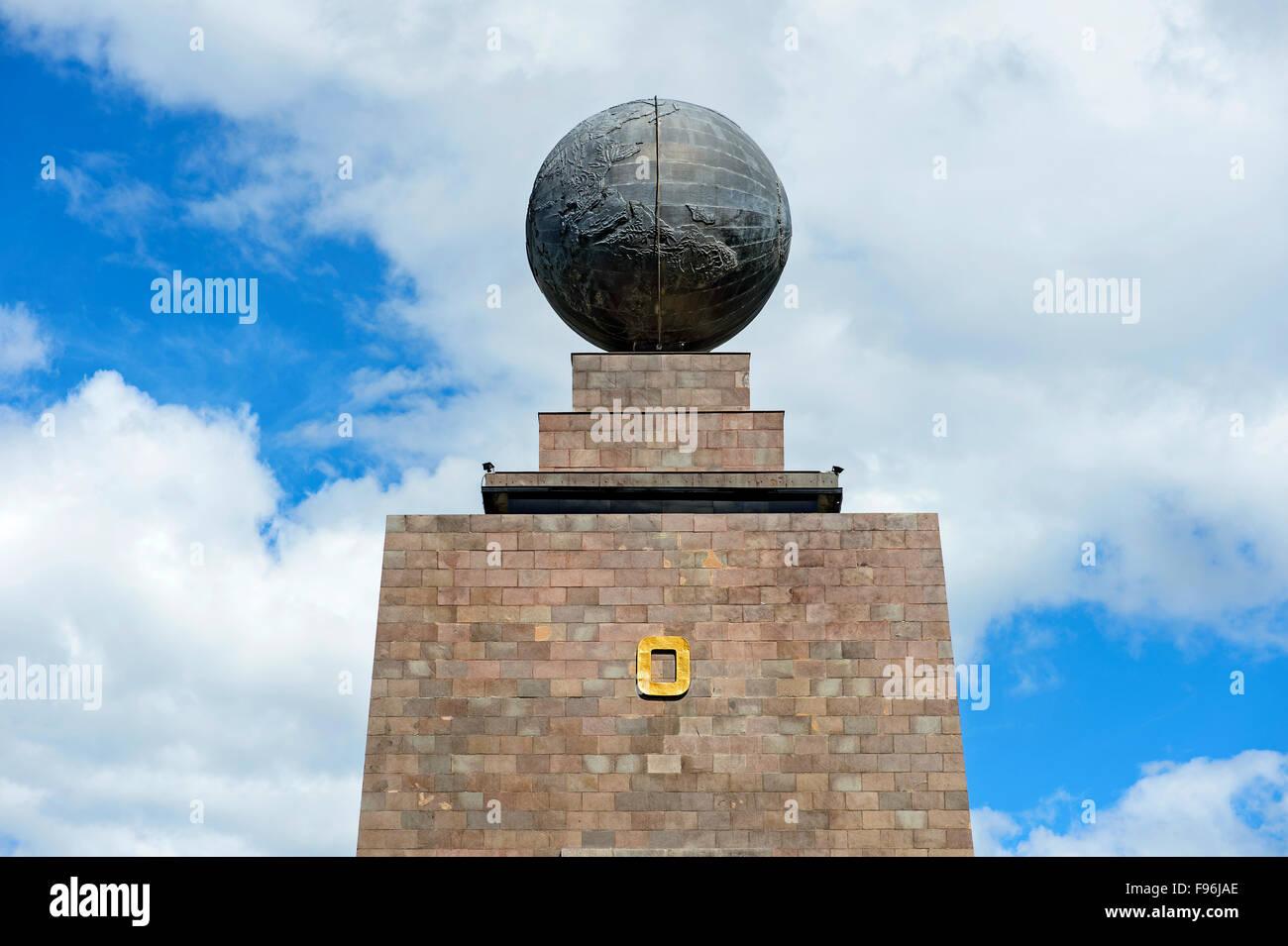 Eastern side of the Equatorial Monument, La Mitad del Mundo, center of the world, Ciudad Mitad del Mundo - Stock Image