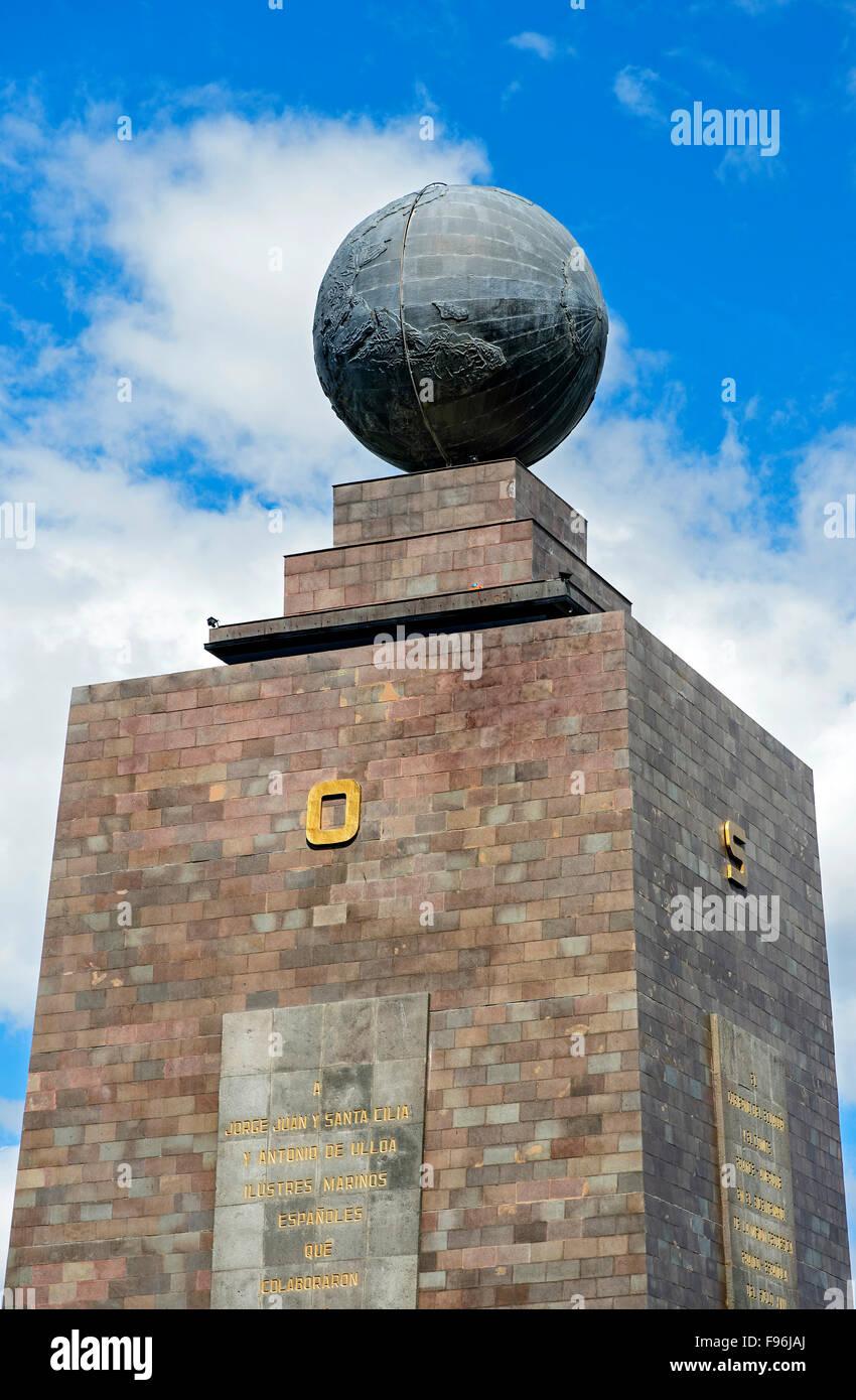 Eastern and southern sides of the Equator Monument La Mitad del Mundo, center of the world, Ciudad Mitad del Mundo - Stock Image