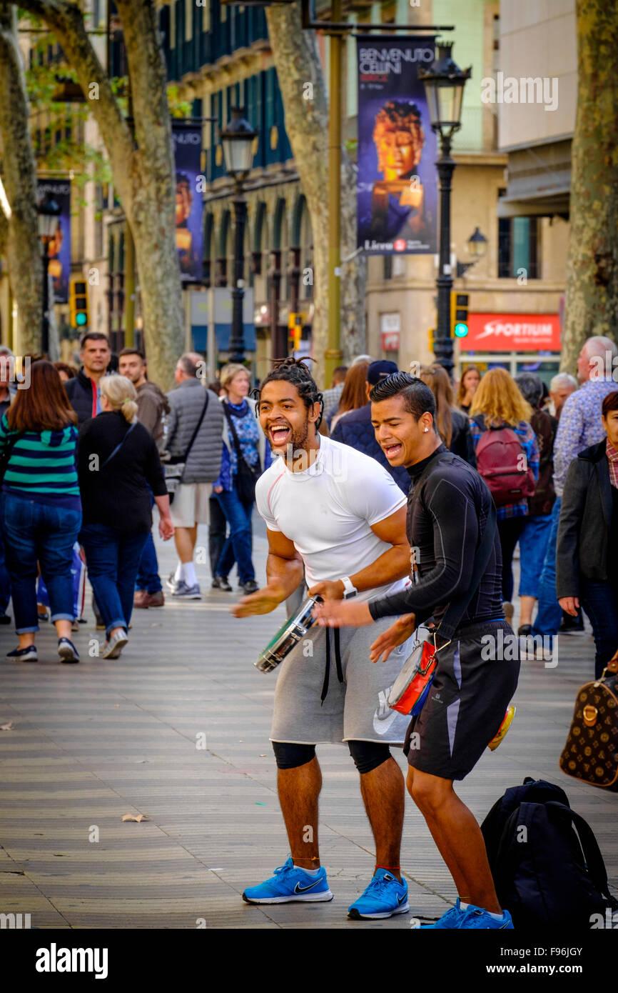 Singing People At La Rambla In Barcelona Spain La Rambla One Of Stock Photo Alamy