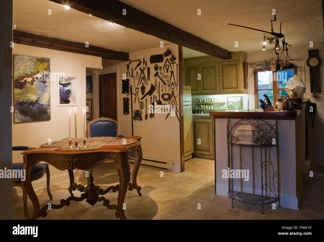 Incredible Antique Breakfast Table And Blue Leather Upholstered High Inzonedesignstudio Interior Chair Design Inzonedesignstudiocom
