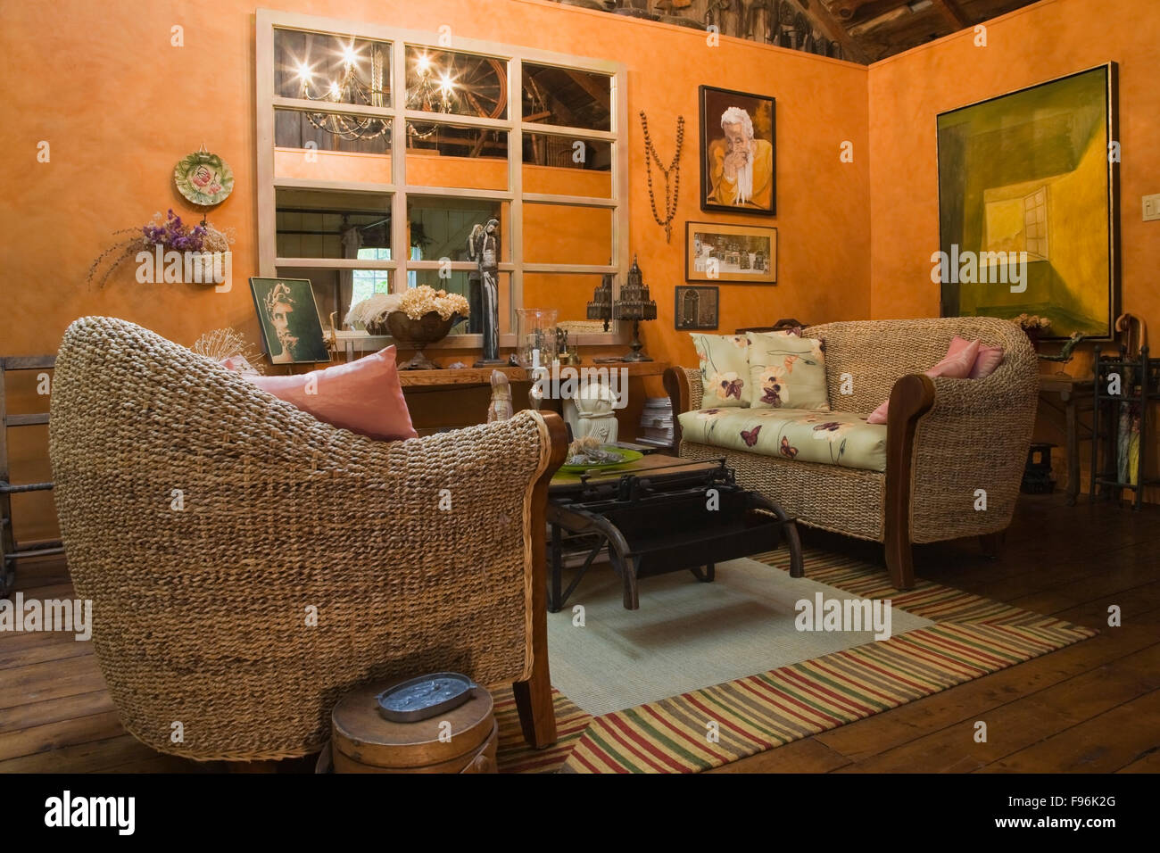 Living Room With Wicker Chairs Love Seat And Wooden Coffee Table - Barn house coffee table
