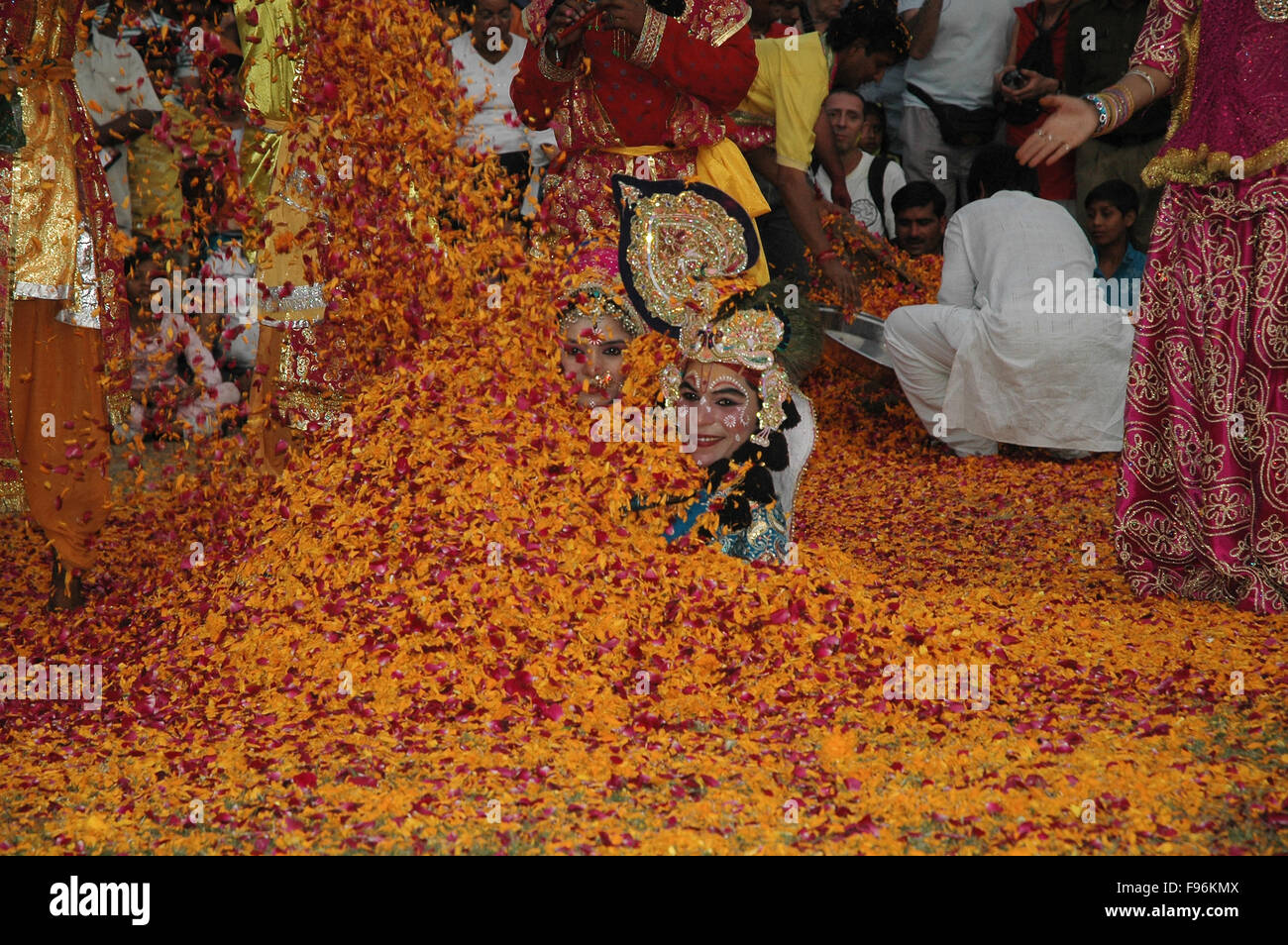 Folk artists performing Radha-Krishna Love story, covered