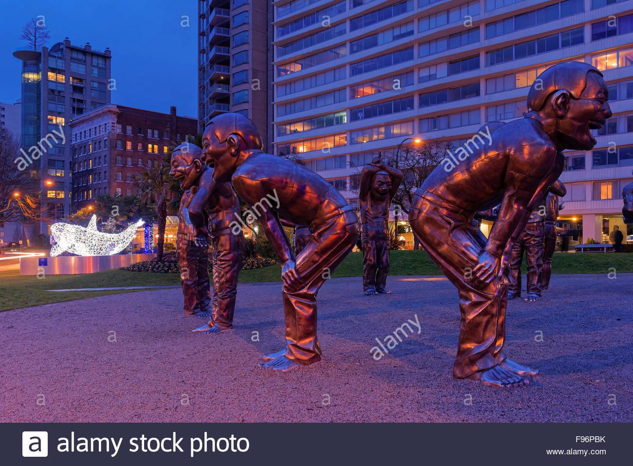 'Amazing Laughter'  sculpture installation. Morton Park, Vancouver, BC, Canada - Stock Image