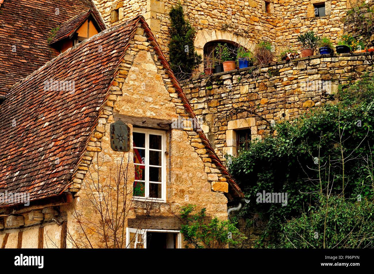 architectural detail, Rocamadour, Lot Department, Aquitaine, France - Stock Image