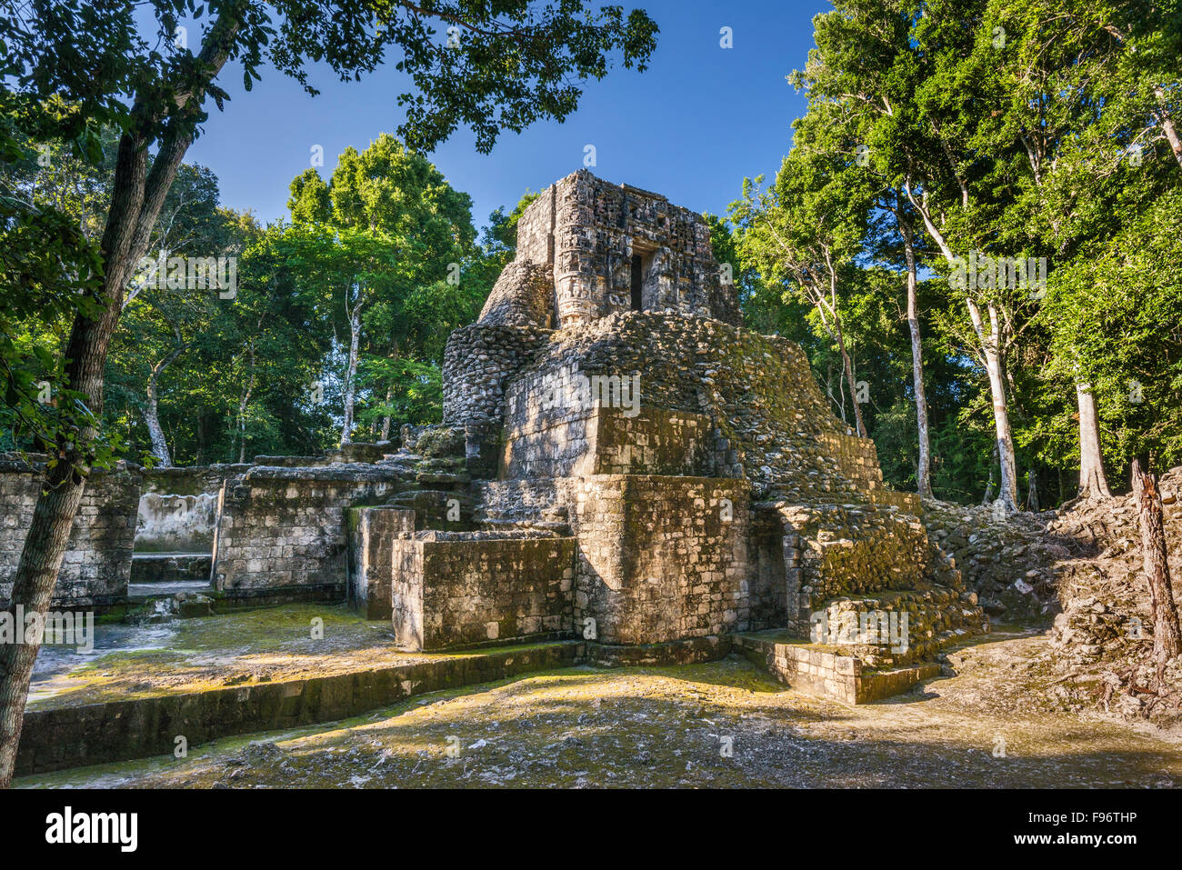 Estructura V, pyramid with temple on top, Maya ruins, Hormiguero archaeological site, La Ruta Rio Bec, Yucatan Peninsula, Stock Photo