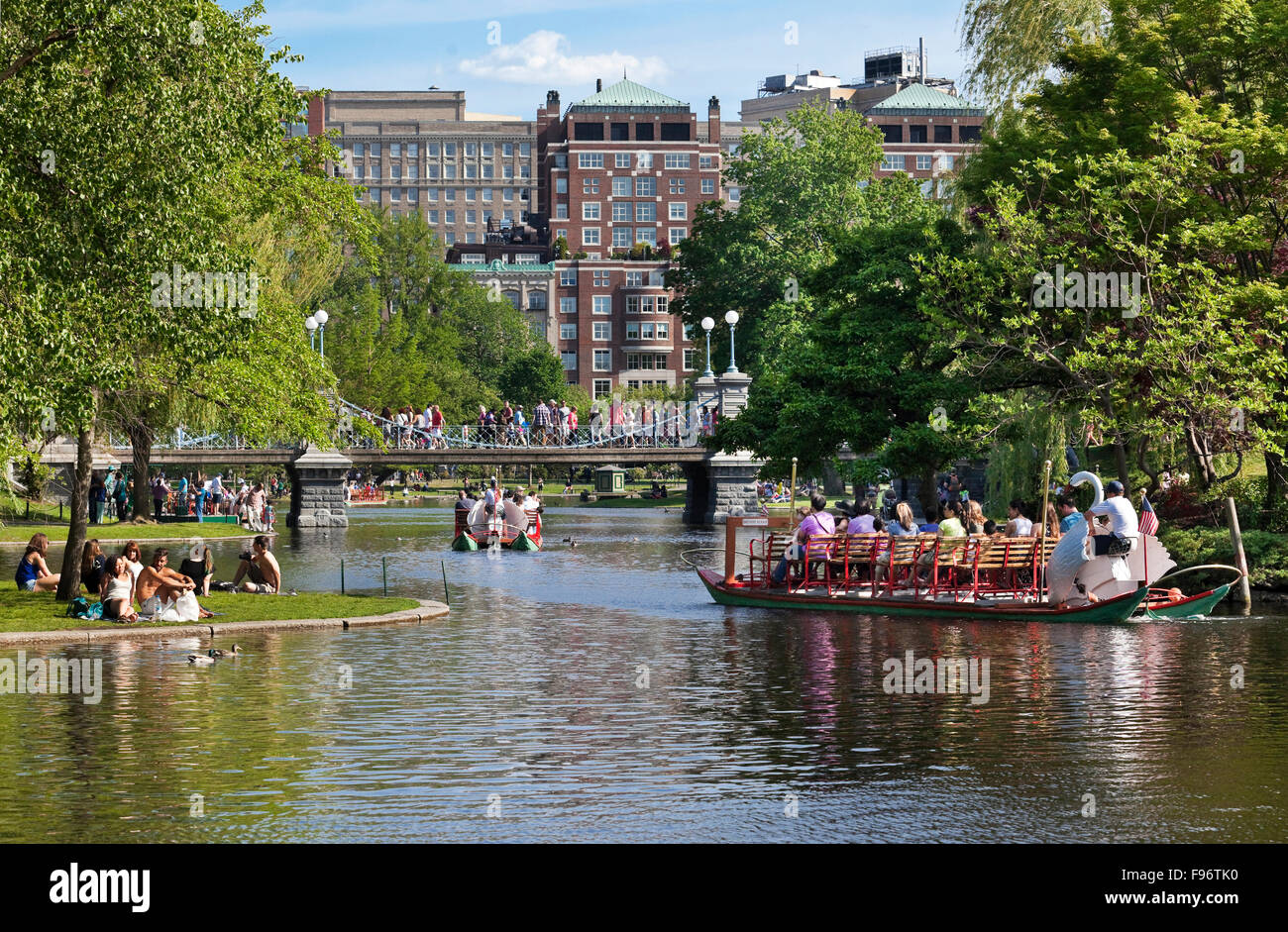 Artificial lake in the Boston's Public Garden commonly referred to as the Lagoon. The lake is the site of popular - Stock Image