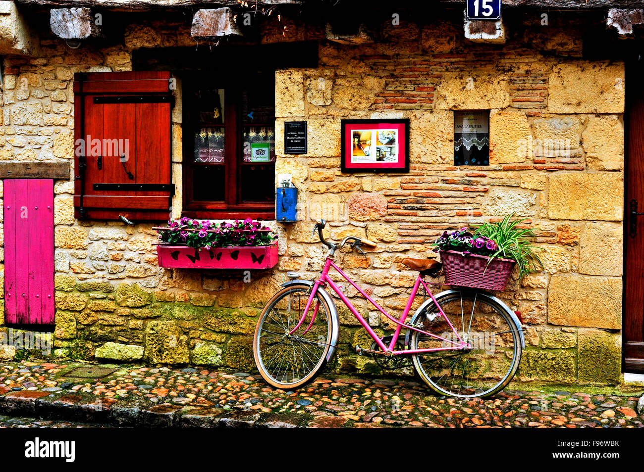 decorative bicycle with flower box, Bergerac, Dordogne Department, Aquitaine, France - Stock Image