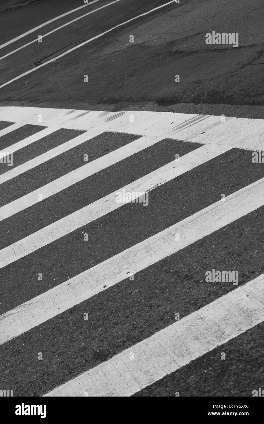 An Oblique View Of A Zebra Crossing - Stock Image