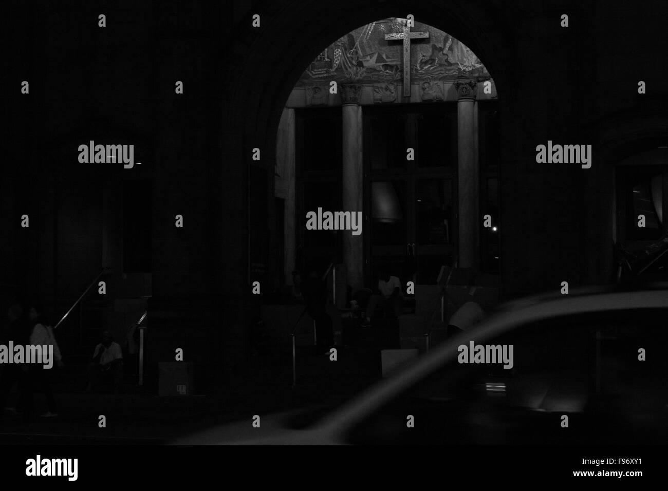 Darkened Interior Of A Church - Stock Image
