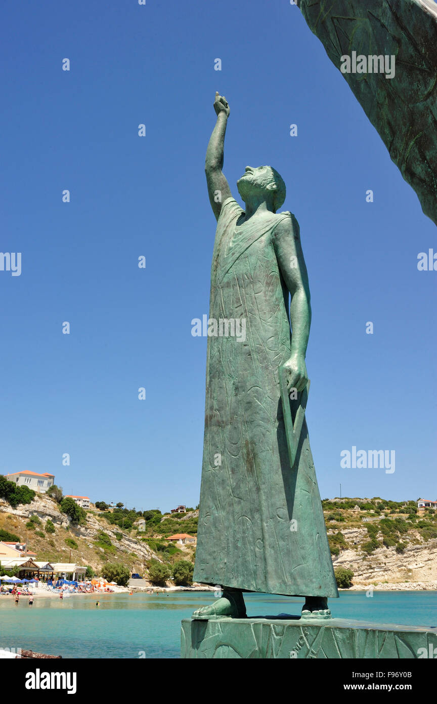 statue of mathematician Pythagoras, Pythagoreio, Samos Island, Greece - Stock Image