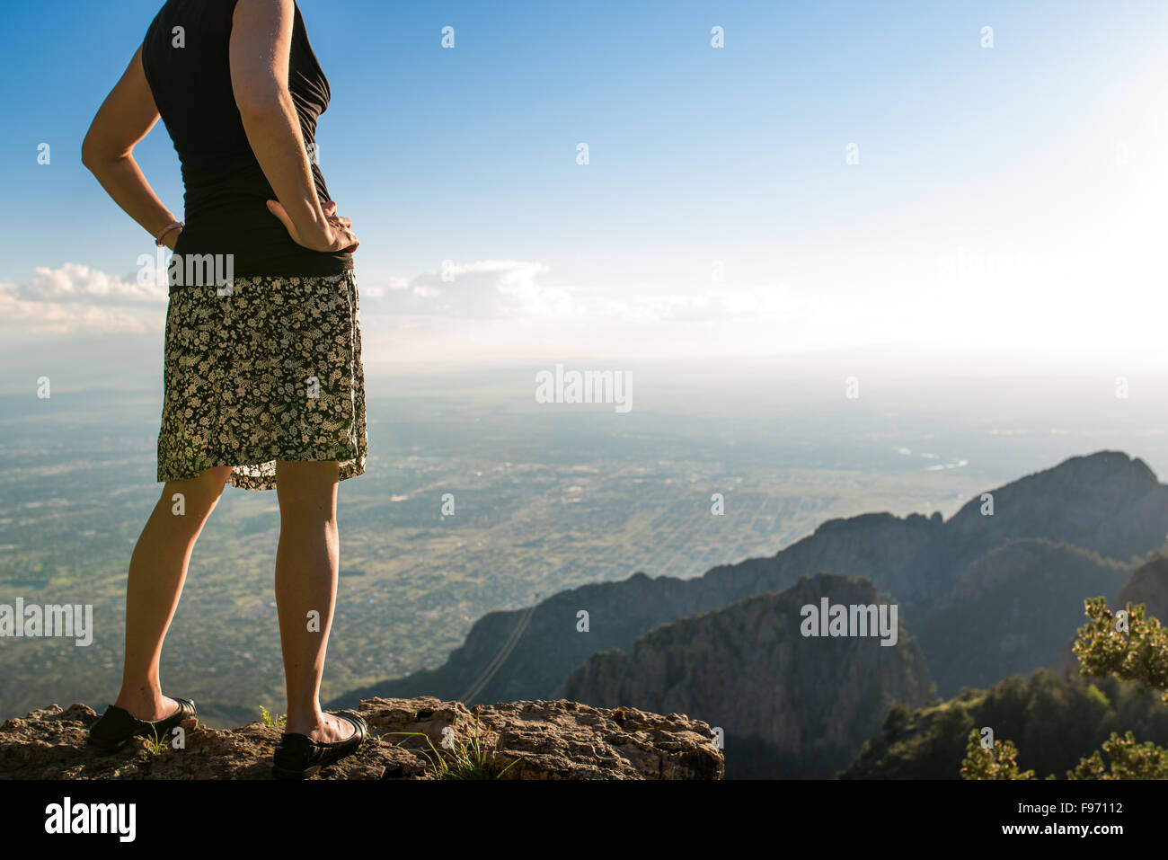 Hiking and lookout at Sandia Peak, Albuquerque, New Mexico. - Stock Image