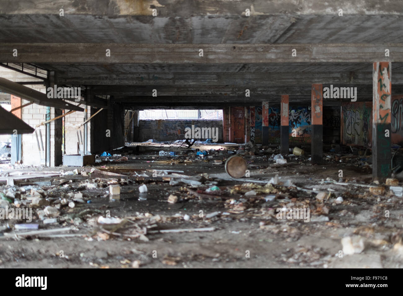 Mess In Abandoned Building - Stock Image