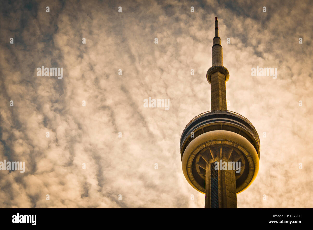 CN Tower and cloudy sky - Stock Image